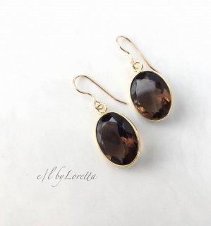 スモーキークォーツ Oval pierce/earring