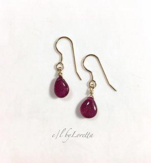 ルビー Drop pierce/earring