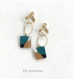 Square color hoop pierce/ earring