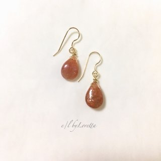 サンストーンDrop pierce/earring