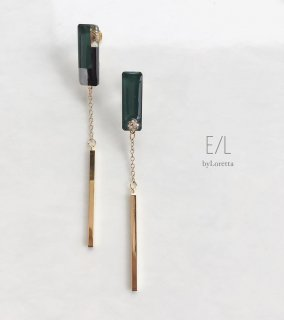 Asymmetry 3color stick pierce/earring(Green)