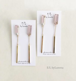 Asymmetry 3color stick pierce/earring(Lavender)