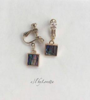 Shell square pierce/earring