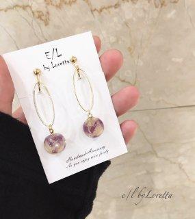 Mini flower ball oval hoop pierce/earring(Lavender×White)