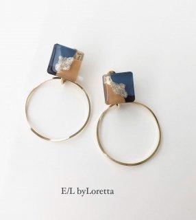 3color square hoop pierce/earring(Blue)