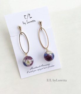 Mini flower ball oval hoop pierce/earring(Purple)