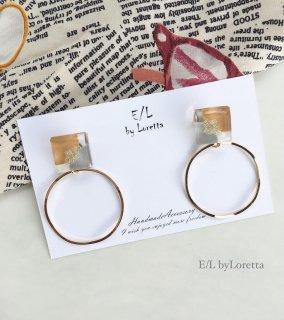 3color square hoop pierce/earring(Mustard)