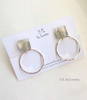 3color square hoop pierce/earring(Olive)