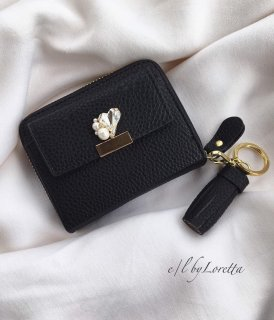 Heart bijou mini wallet(Black)