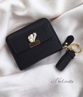 Heart bijou mini wallet(Black)