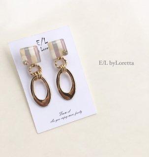Square art w hoop pierce/earring(Lavender)