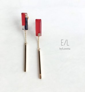 Asymmetry 3color stick pierce/earring(Red)