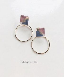 3color square hoop pierce/earring(Pink)