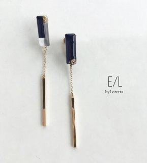 Asymmetry 3color stick pierce/earring(Navy)
