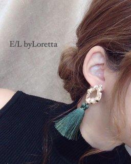 【20% OFF!!】Metal long tassel pierce(Green)