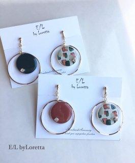 (全2色)Circle Asymmetry big hoop pierce/earring