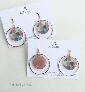 (全2色)Multi color big hoop pierce/earring
