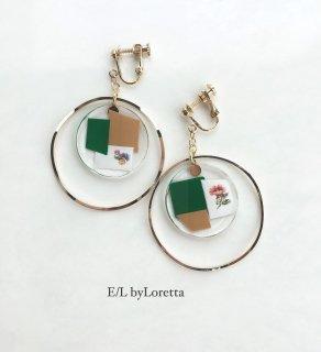Flower color mosaic circle big hoop pierce/earring