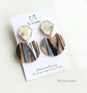 KAKERA marble stripe pierce/earring(Ivory)