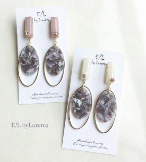 (全2色)Color stick marble oval hoop pierce/earring