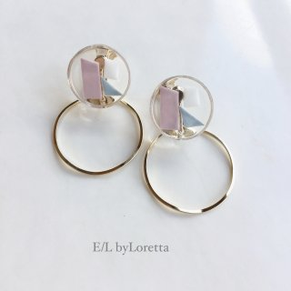 2way Circle color mosaic hoop pierce/earring