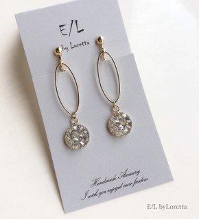 SWAROVSKI bijou oval hoop pierce/earring(Crystal Blueshade)