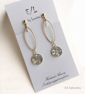 SWAROVSKI bijou oval hoop pierce/earring(Indian Sapphire)