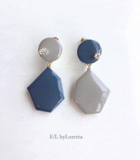 Color Asymmetry KAKERA pierce/earring(Graish Blue×Beige)
