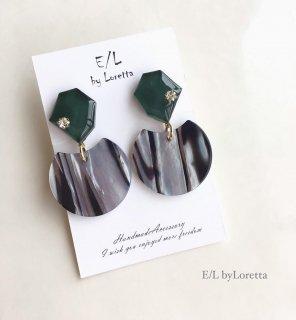 KAKERA marble stripe pierce/earring(Green)
