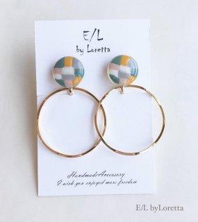 Mini circle marble hoop pierce/earring(Mix × Mix)