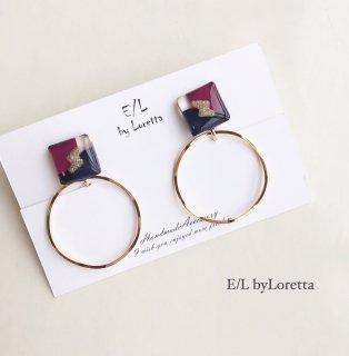 3color square hoop pierce/earring(Purple×Navy)