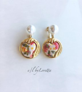 Pearl retro heart button pierce/earring