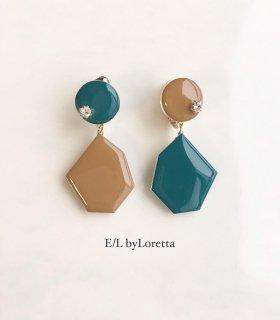 Color Asymmetry KAKERA pierce/earring(Green×Mustard)