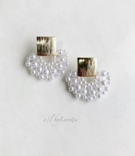 Gold square plate pearl pierce/earring