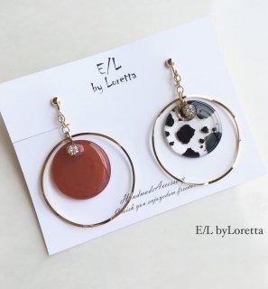Asymmetry clear animal big hoop pierce/earring(Terracotta)