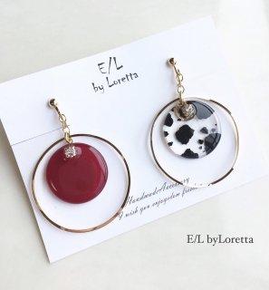 Asymmetry clear animal big hoop pierce/earring(Hot Pink)