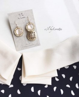 Asymmetry button pierce/earring