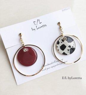 Asymmetry white animal big hoop pierce/earring(Bordeaux)