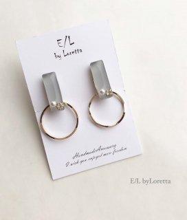 Color bijou stick hoop pierce/earring(Gray)