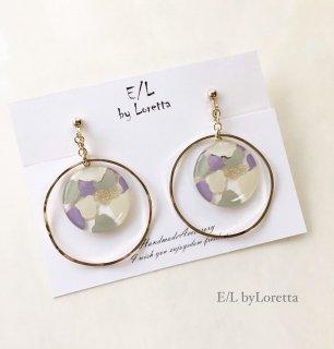 Circle marble hoop pierce/earring
