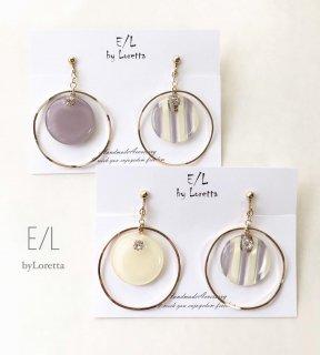 (全2色)Circle big hoop stripe pierce/earring