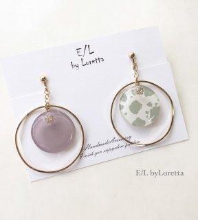 Asymmetry white animal big hoop pierce/earring(Lavender)