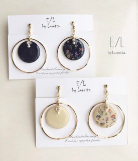(全2色)Botanical big hoop pierce/earring