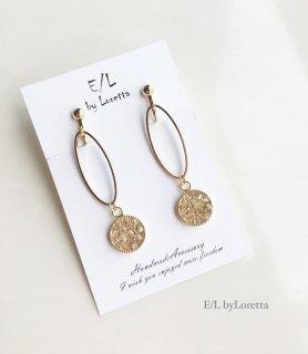 SWAROVSKI bijou oval hoop pierce/earring(Light silk)