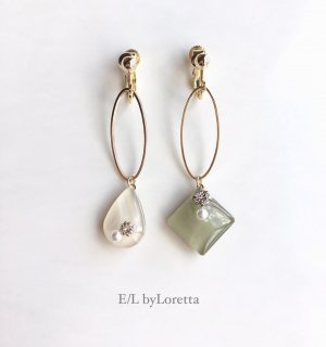 Asymmetry Shizuku square oval hoop pierce/earring(Olive×Ivory)