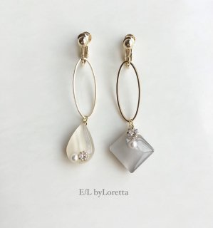 Asymmetry Shizuku square oval hoop pierce/earring(Ivory×Beige)
