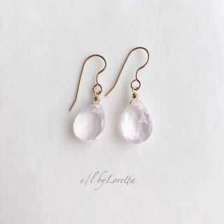 ローズクォーツ drop pierce/earring�