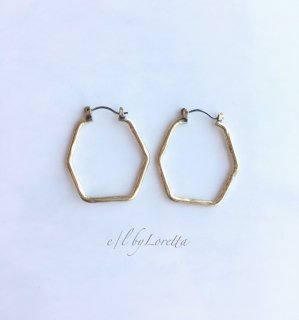 真鍮 hexagon hoop pierce