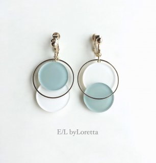 Asymmetry color pallet pierce/earring(Mint × White)