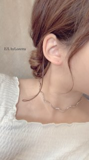 Wave choker Necklace (Silver)